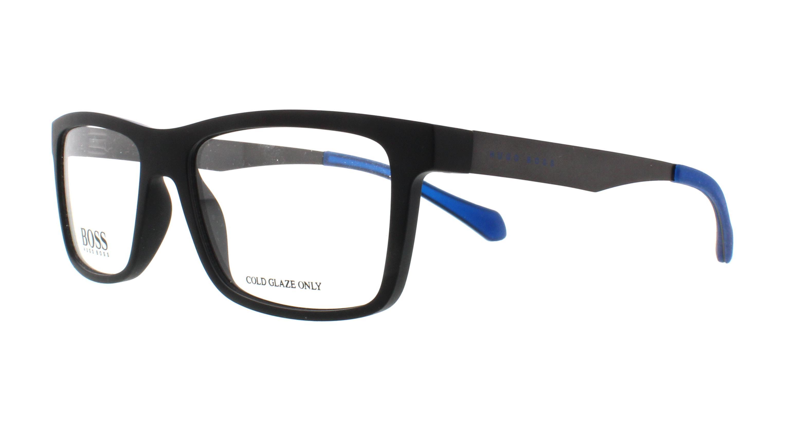 855637497d HUGO BOSS Eyeglasses 0870 00N2 Matte Black Blue 54MM