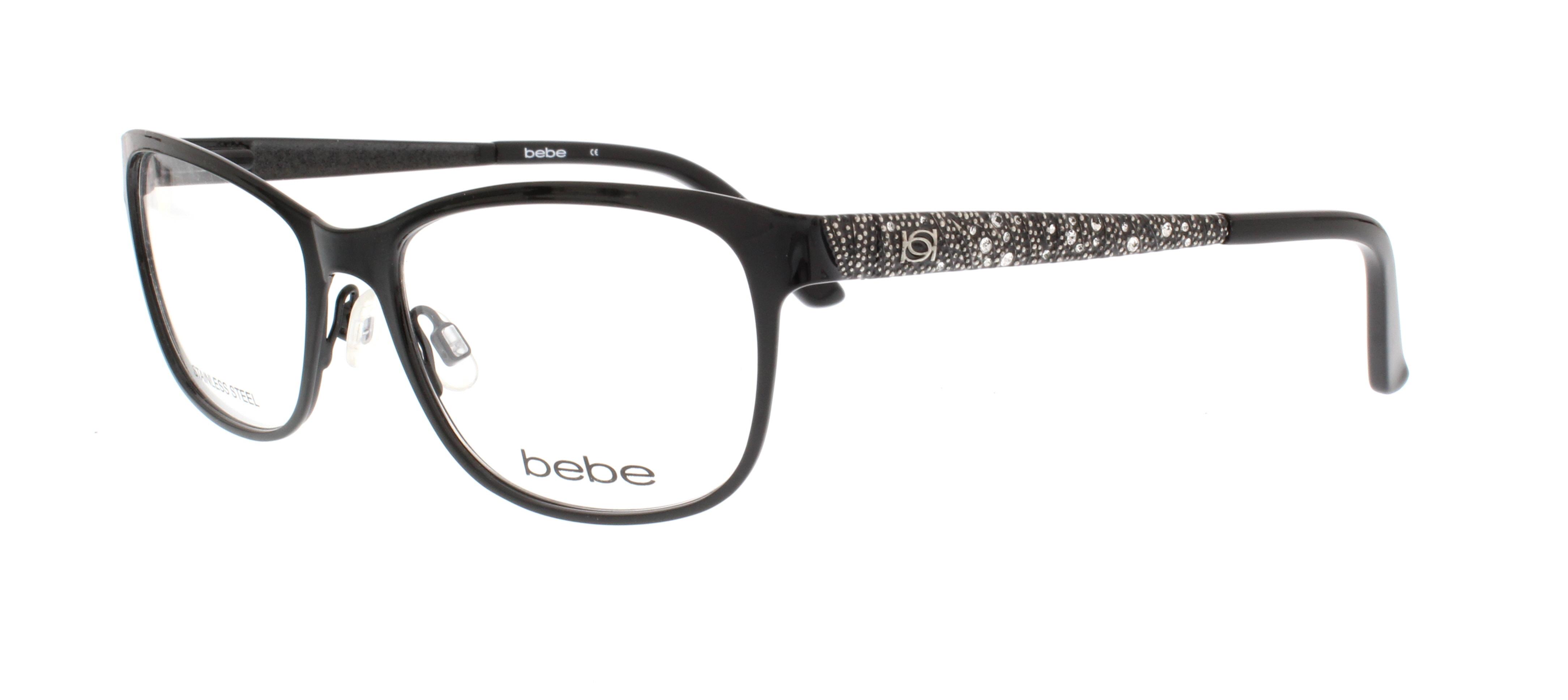 BEBE Eyeglasses BB5067 I NEVER 001 Jet 53MM 788678024404   eBay
