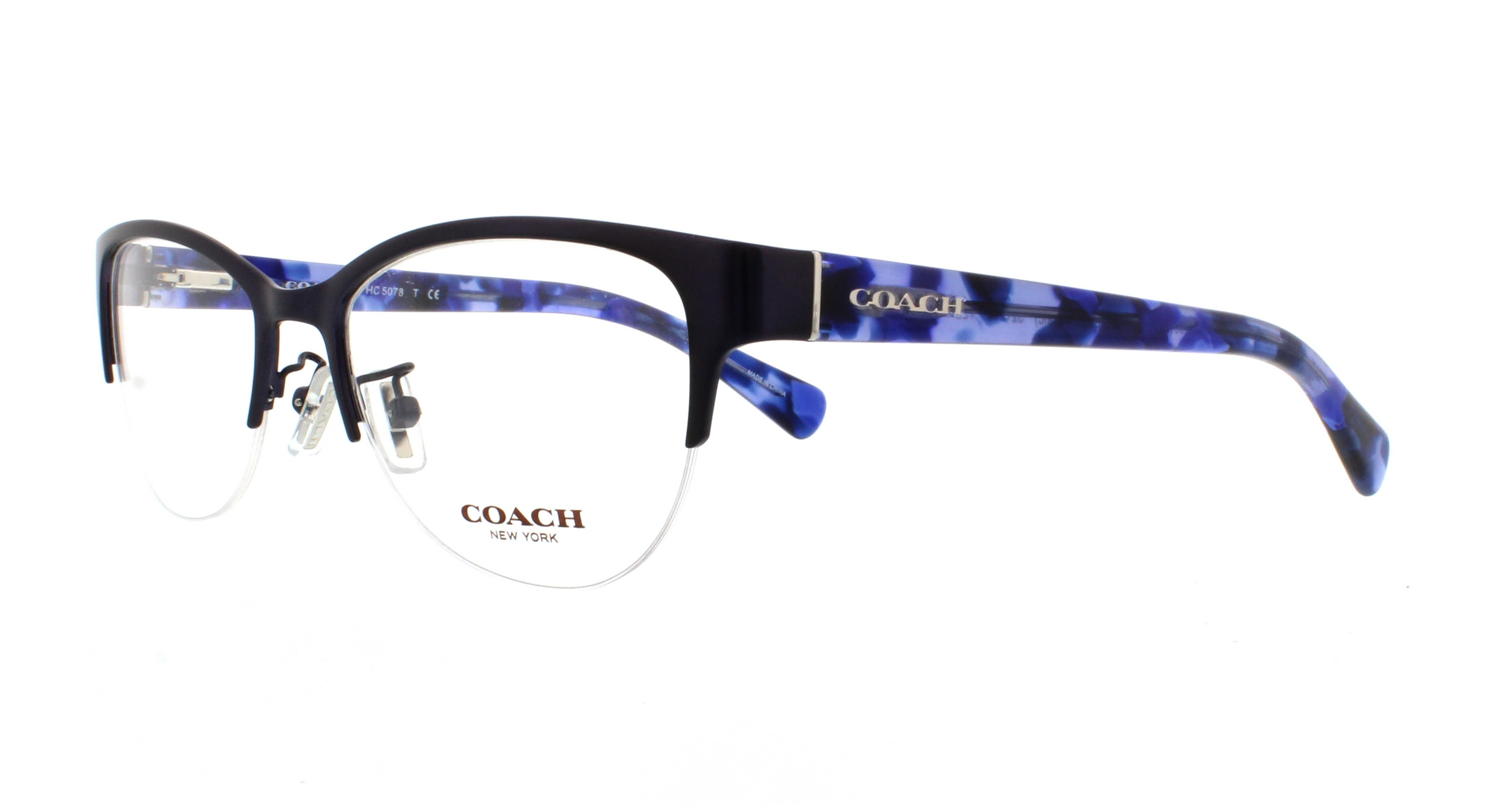 COACH Eyeglasses HC5078 9255 Satin Navy/Blue Black Mosaic 52MM ...