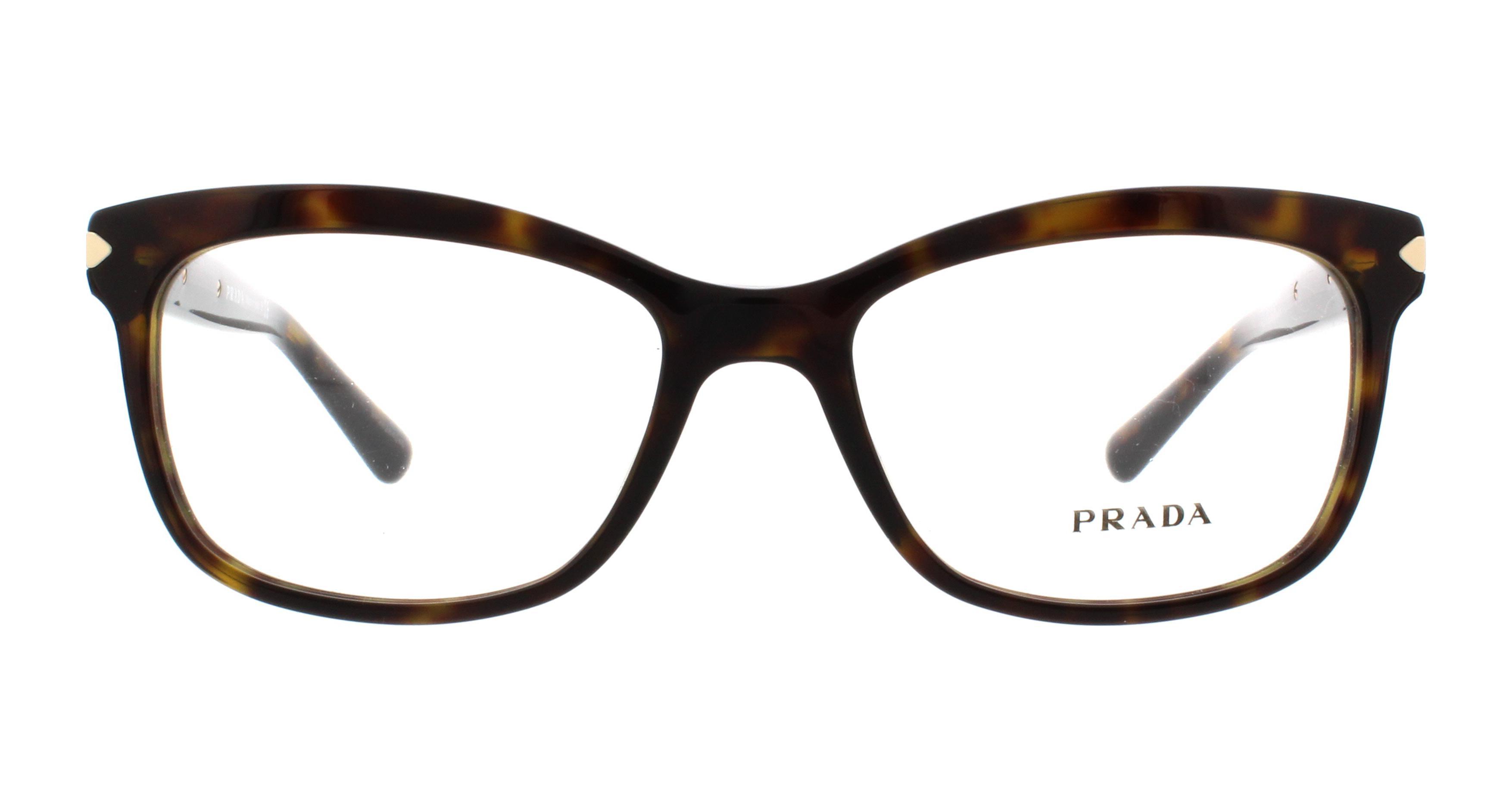 PRADA Eyeglasses PR10RV ARROW 2AU1O1 Havana 53MM   eBay