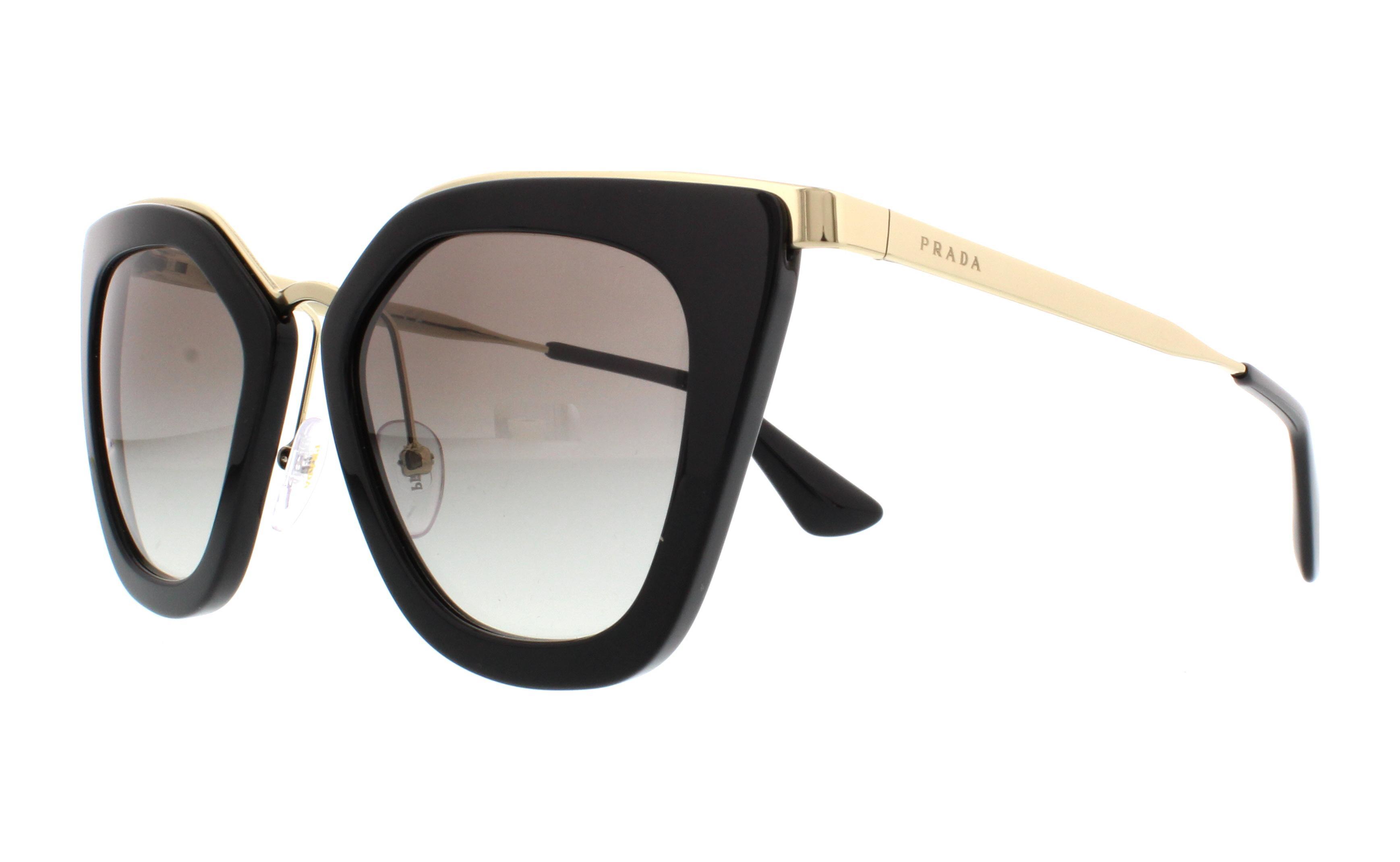 Prada PR53SS Sonnenbrille Schwarz und Gold 1AB0A7 52mm 2x2CNtboEe