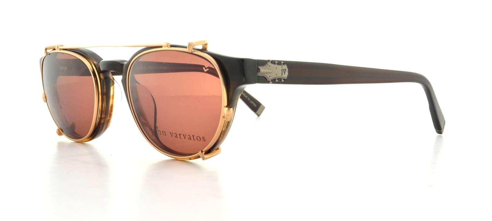JOHN VARVATOS Eyeglasses V353 Brown Horn 48MM (Sun-Clip Included ...