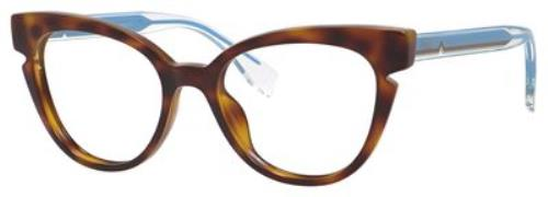 77dc9ce7838 FENDI Eyeglasses 0134 0N9D Havana Crystal Blue 50MM 762753052735