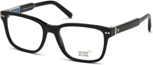 3d0b1b824cc8 MONTBLANC Eyeglasses MB0705 001 Shiny Black 54MM 664689905652